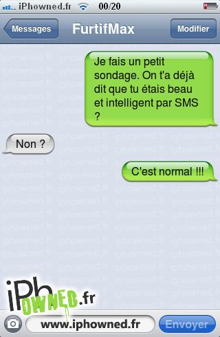 Je fais un petit sondage. On t'a déjà dit que tu étais beau et intelligent par SMS ?, Non ?, C'est normal !!!,