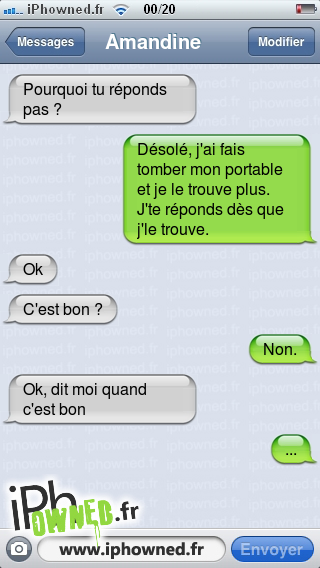 iphowned message sms drole texto rigolo blagues message sms j 39 ai fais tomber mon portable. Black Bedroom Furniture Sets. Home Design Ideas