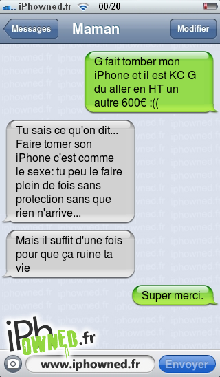 iphowned message sms drole texto rigolo blagues message sms faire tomber son iphone. Black Bedroom Furniture Sets. Home Design Ideas