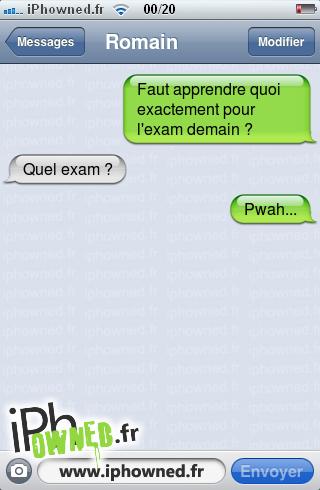 Faut apprendre quoi exactement pour l'exam demain ?, Quel exam ?, Pwah...,