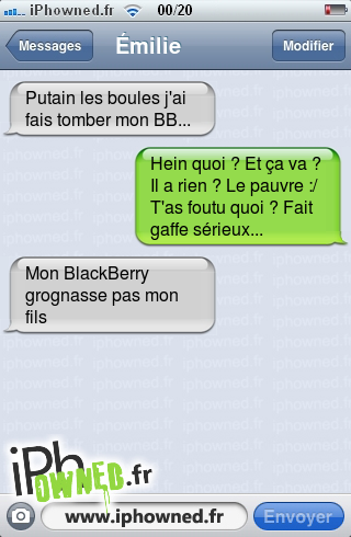iphowned message sms drole texto rigolo blagues message sms elle a fait tomber son bb. Black Bedroom Furniture Sets. Home Design Ideas