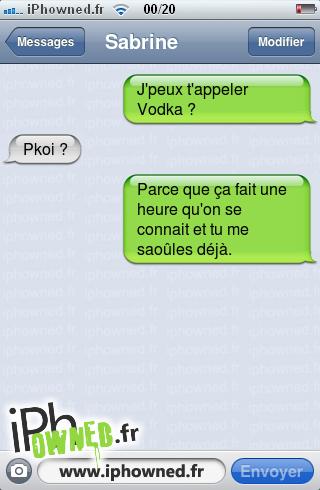 J'peux t'appeler Vodka ?, Pkoi ?, Parce que ça fait une heure qu'on se connait et tu me saoûles déjà.,