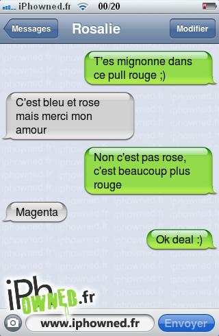 T'es mignonne dans ce pull rouge ;), C'est bleu et rose mais merci mon amour, Non c'est pas rose, c'est beaucoup plus rouge, Magenta, Ok deal :),